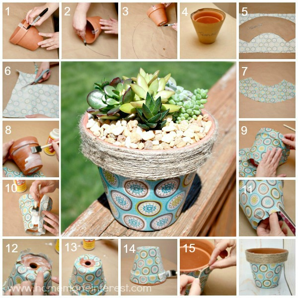 fabric covered flower pot home made interest