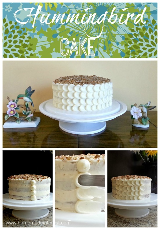 Hummingbird cake is fruity and sweet and absolutely delicious! It's perfect as an Easter dessert….or really as a dessert recipe for any time of year. I've included a tutorial on a simple way to frost it using the petal frosting method.