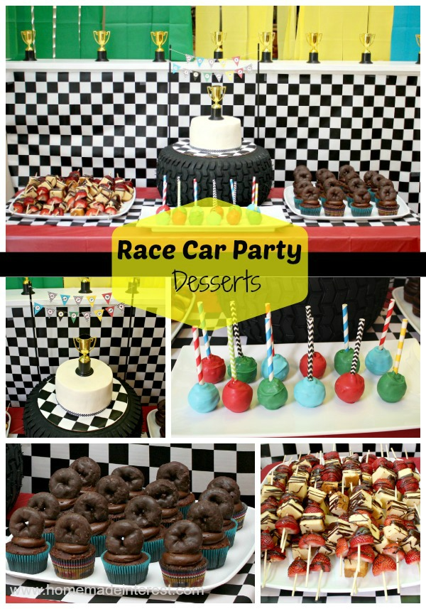 Race Car party dessert table display with a checkerboard cake, cake pops, tire cupcakes and fruit skewers.
