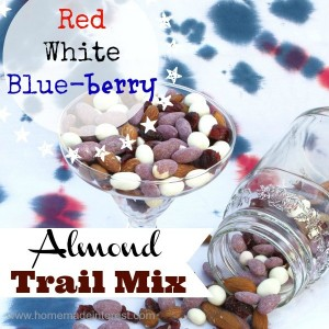 Red, White and Blue-berry Almond Trail Mix {www.homemadeinterest.com}