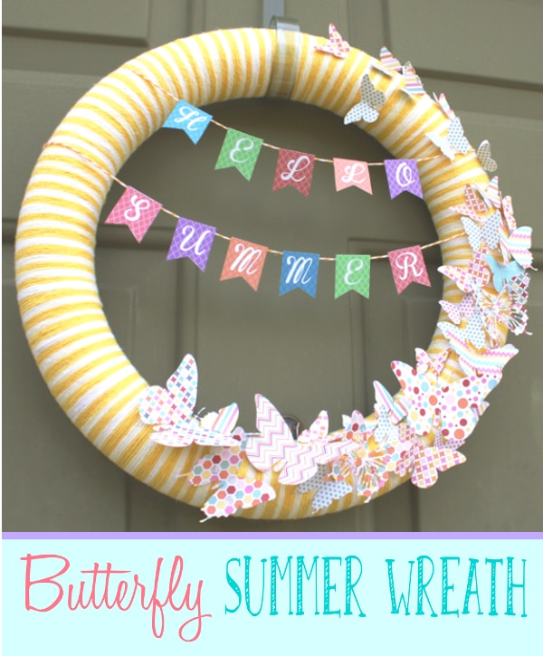Butterfly Summer Wreath {www.homemadeinterest.com}