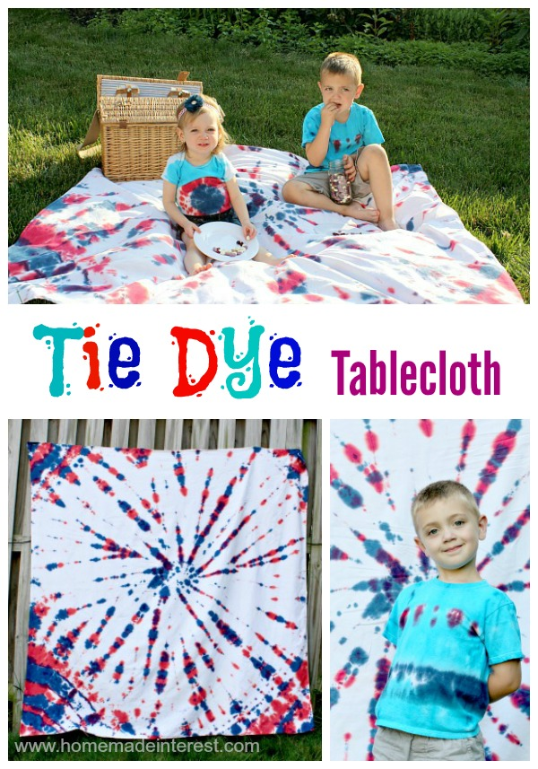 Tie Dye Tablecloth tutorial pinterest {www.homemadeinterest.com}