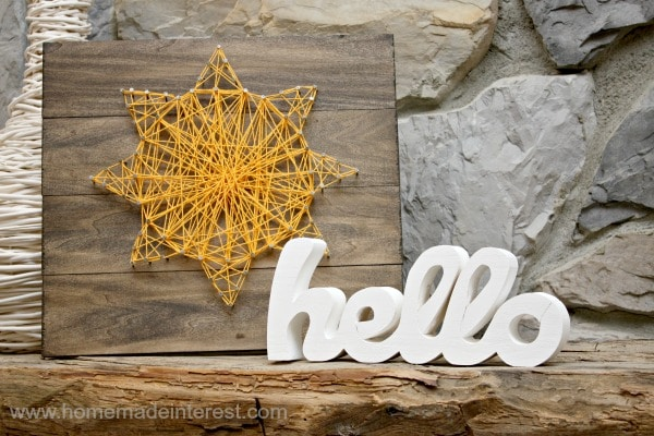 Hello Sunshine String Art {www.homemadeinterest.com}