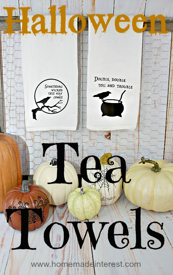 Halloween Tea Towels {www.homemadeinterest.com}