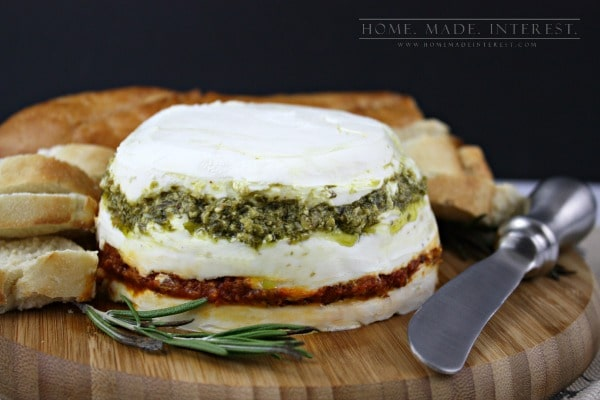 ... tomato pesto, goat cheese and cream cheese it is decadent and