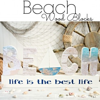 I love the beach and these wood letters were a perfect way to decorate my home for summer. A little mod podge and scrapbook paper and these decorative beach letters were ready to go.