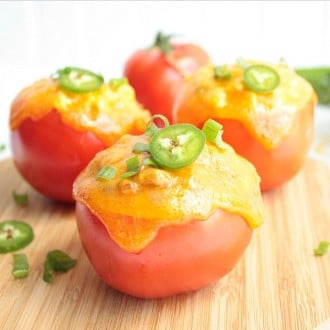 Stuffed Tomato Tuna Melts are amazing! They make a great low calorie lunch recipe. I love taking mine to work for lunch on the go.