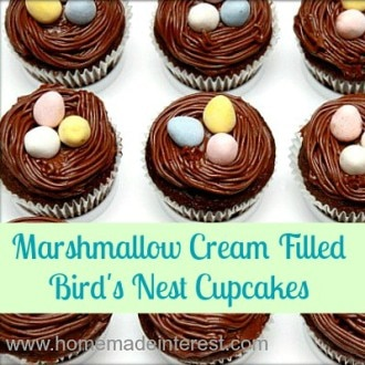 These chocolate cupcakes are filled with marshmallow cream and topped with an adorable bird's nest with candy eggs. They make a great Easter dessert, and they are a cute idea for a spring baby shower.