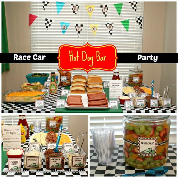 Hot Dog Bar for a Race Car party.
