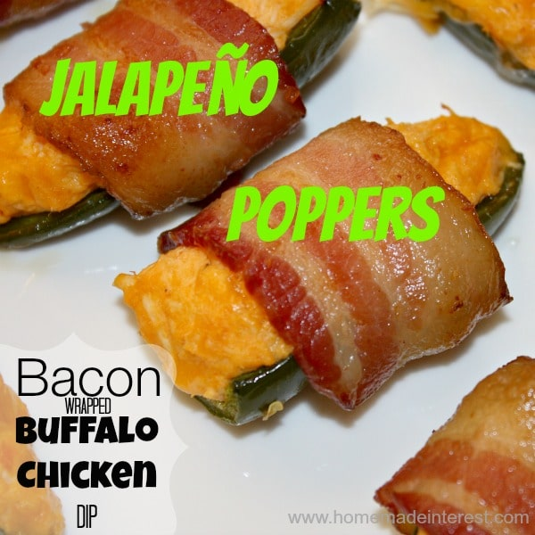 Buffalo chicken Dip Jalapeno Poppers Wrapped in Bacon - www.homemadeinterest.com