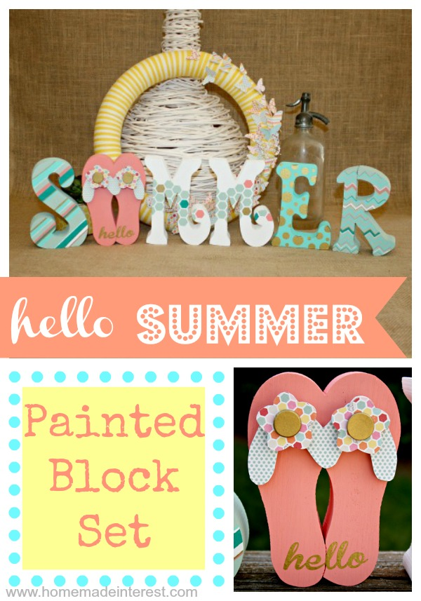 I love these Summer wood blocks with those cute flip flops! They are the perfect way decorate your house for summer.
