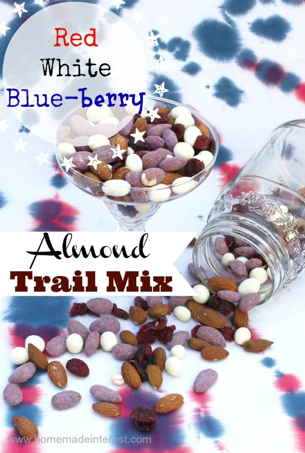 I'm always looking for a good snack for 4th of July fireworks and this red, white, and blue trail mix seems simple to make and take with us for the kids to snack on.