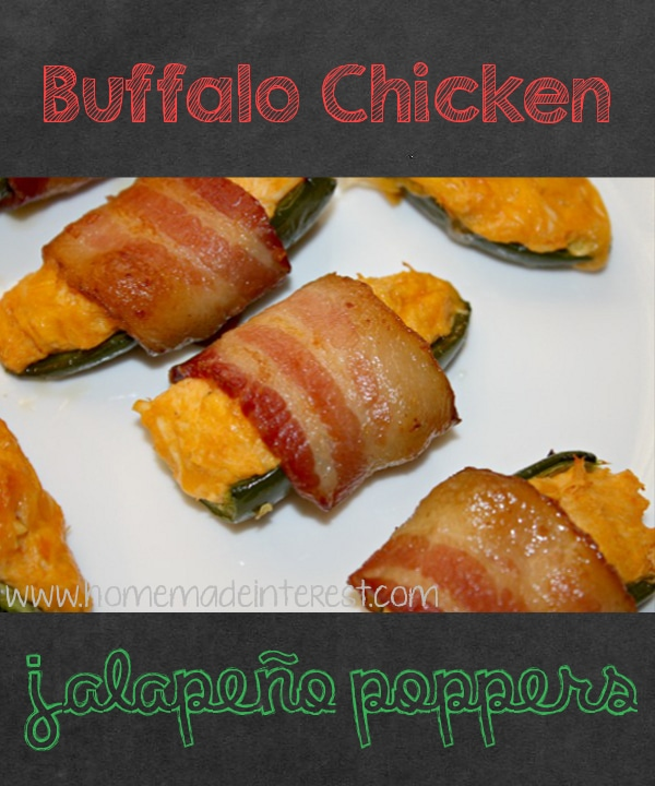 Spicy jalapenos stuffed with buffalo chicken dip and wrapped in bacon. A great party appetizer or game day snack!