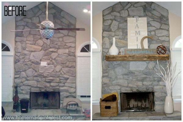 Mantel Before & After {www.homemadeinterest.com}