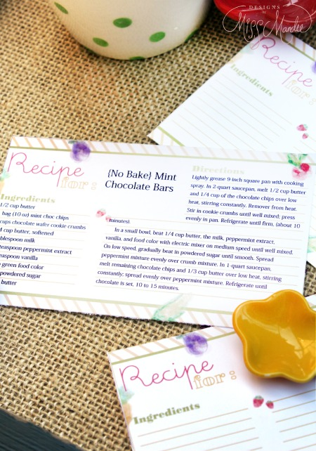 Editable Recipe Cards by Designs by Miss Mandee