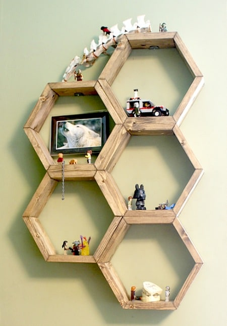 Honeycomb Hexagon Shelves by Boxy Colonial