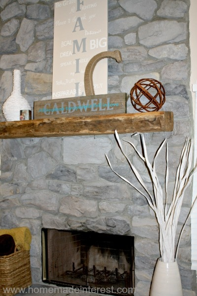 Barnwood mantel {www.homemadeinterest.com}
