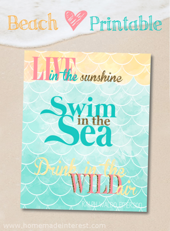 This Beach Printable is perfect for your beach summer decor. It has a quote from Ralph Waldo Emerson that is made for beach lovers!