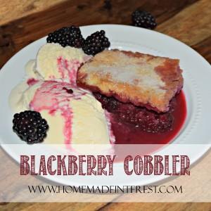 This is grandma's blackberry cobbler recipe. We always called it blackberry pie and I used to help her make it after picking blackberries in her garden! It is my favorite blackberry dessert!