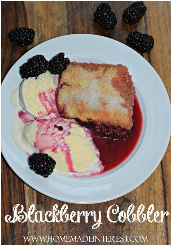 This is grandma's blackberry cobbler recipe. We always called it blackberry pie and I used to help her make it after picking blackberries in her garden! It is my favorite blackberry dessert!