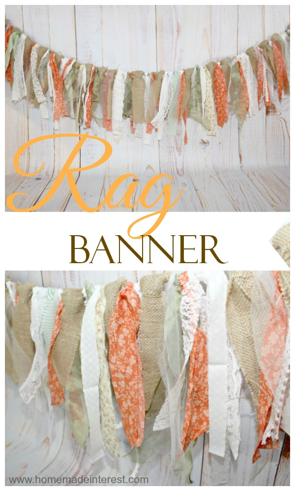 A Rag Banner is such an easy project and it makes such a statement as a shabby chic decoration. It's simple to make and completely customizable. Try using one for the next birthday party, bridal shower, or baby shower you host!