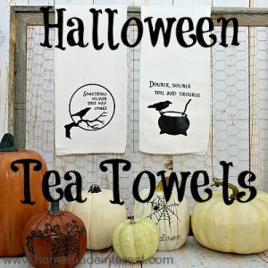 Learn how to use heat transfer vinyl to decorate your house for Halloween with this simple tutorial on making tea towels.