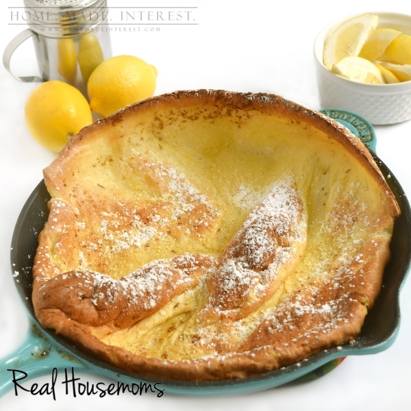 Dutch Baby Recipe on Realhousemoms.com by Kat & Melinda at homemadeinterest.com