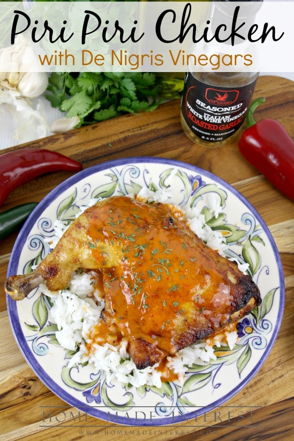 Piri Piri Chicken is a spicy portuguese chicken dish made with hot peppers, vinegar and spices. This chicken dish can be grilled or baked and it is sure to be a crowd pleaser!