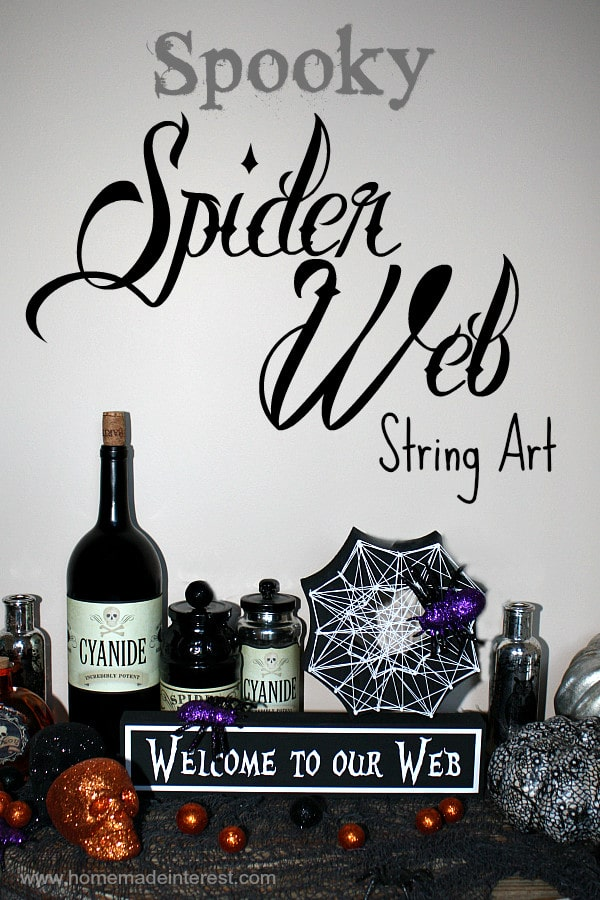 String art is so fun and easy. This spider web design is perfect as a Halloween decoration.
