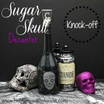 This is a simple tutorial on how to make a knockoff Crate and Barrel Halloween sugar skull decanter as a Halloween Craft.