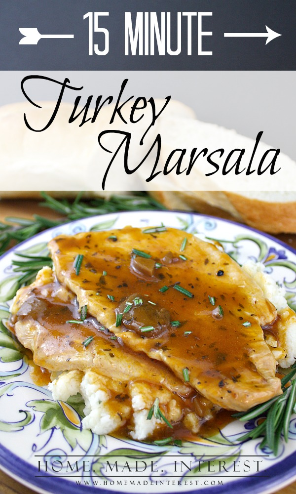 This turkey marsala can be made in 15 minutes using turkey leftovers from the holidays and #CampbellsSauces. The recipe is quick and easy, perfect for a busy weeknight when you have to get the kids to practice but you want to feed them a home cooked meal.