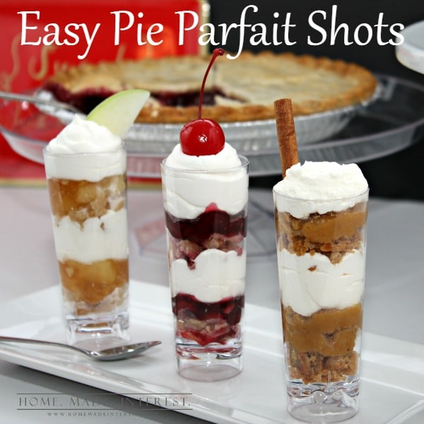 During the holidays there is so much food! Delicious recipes are everywhere! This year, forget the cupcakes, serve your guests these easy pie parfait shots. You don't even need to make the pies yourself, save some time and pick some up at the store. Your dinner guests will love getting to try a little of bit of each without stuffing themselves and it will look so fancy!