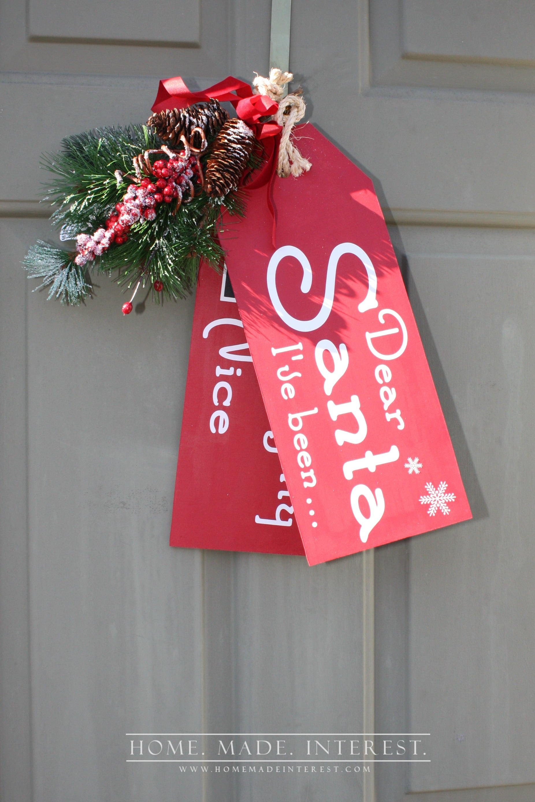 These wooden door tags are perfect craft to decorate for the Christmas season. The chalkboard check boxes mean the kids get to mark if they are on the naughty or nice list so Santa will know when he stops by!