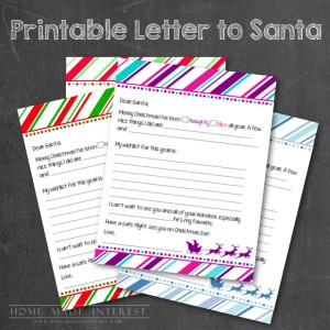 Christmas is right around the corner and everyone is asking what the kids want this year. Help them write their letters to Santa with this free printable. You can choose from 4 different colors.