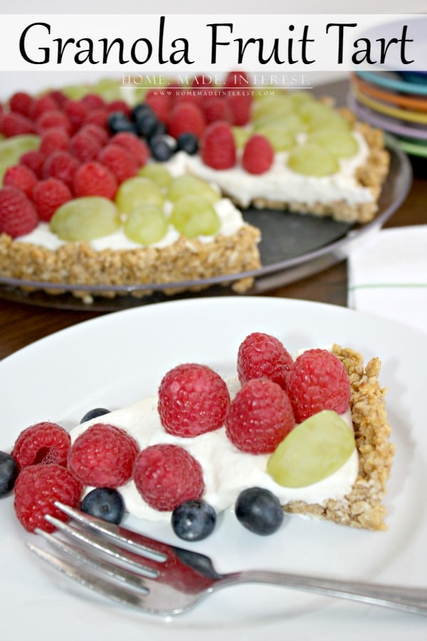 This tart recipe is so easy to make and is perfect as a wholesome snack or dessert. Made with fresh fruit, greek yogurt, honey and granola it is a tart recipe that both kids and adults will enjoy.