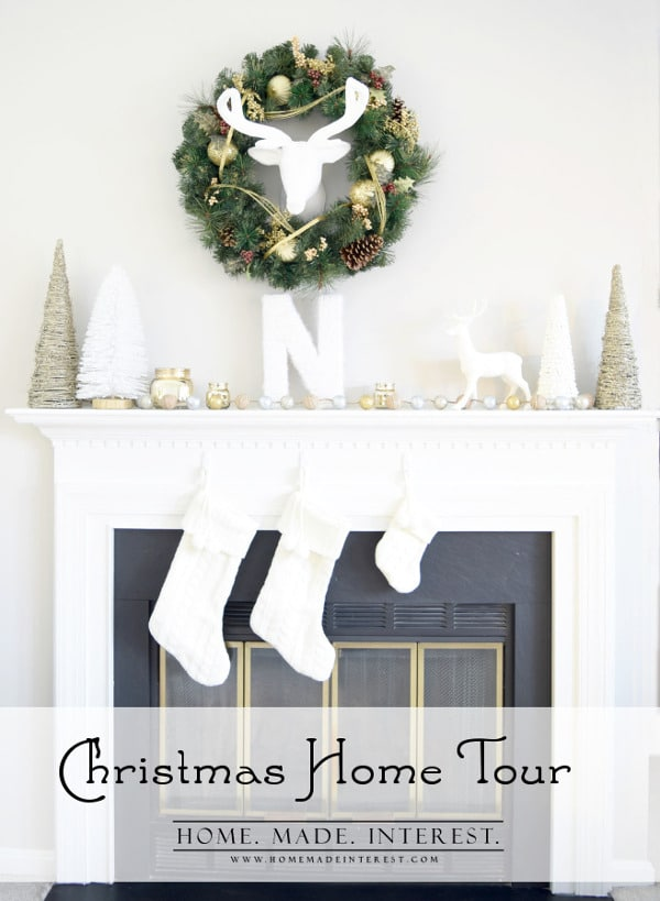 I love decorating my home for the holidays. A big Christmas tree and a beautiful mantel are the centerpieces of my decor. This year I kept things gold, white, and used burlap and glitter as accents. Deer were my focus for my Christmas decorations and I love how it turned out.