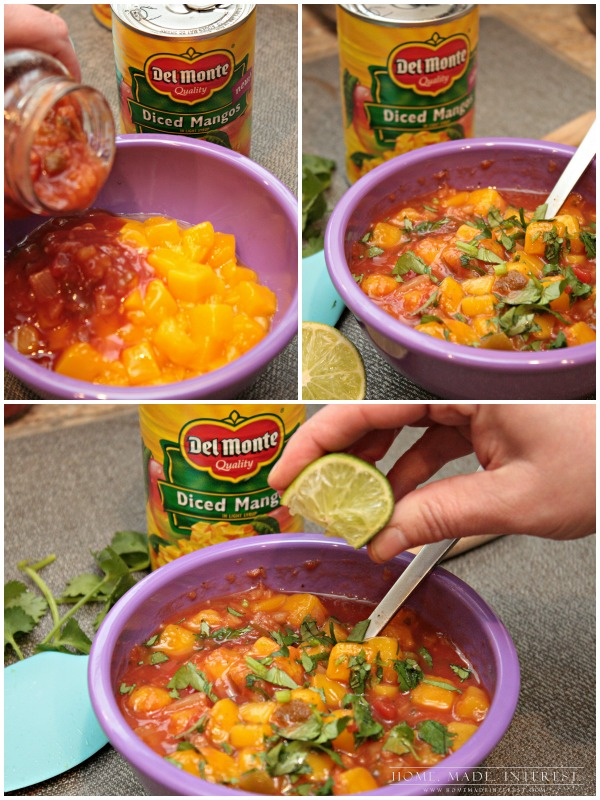 Save time with this quick 2-minute mango salsa recipe. Mix mangos with your favorite salsa add any extras you like to make the salsa recipe all your own. Perfect as an appetizer, party food, or just a healthy snack.