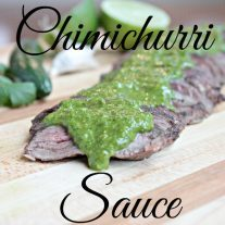 This easy chimichurri recipe made with cilantro is the perfect sauce to add a little zing to your beef, chicken or pork.