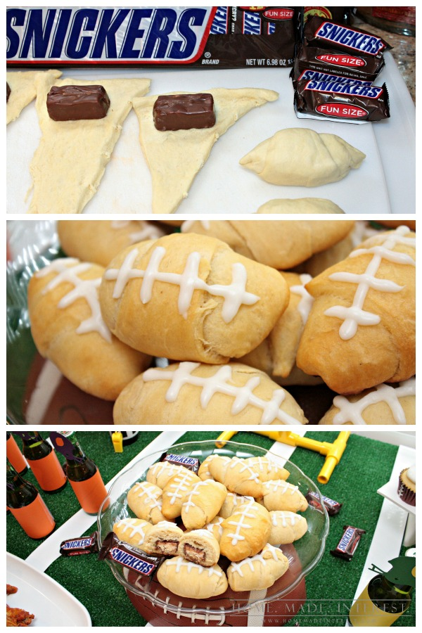 This easy recipe is amazing! Fun size Snickers rolled inside of a crescent roll and baked! What's not to love? Shape the crescent rolls like footballs and add some icing to create the laces and you have the perfect game day food!