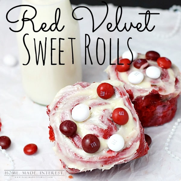 Red Velvet Sweet rolls recipe is the perfect way to celebrate Valentine's Day with friends and family. Cream Cheese frosting and M&Ms inside of the sweet roll make it a delicious, sweet treat.
