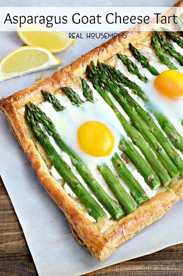 A flaky puffy pastry filled with asparagus and goat cheese with baked eggs on top. What more can you ask for? This asparagus goat cheese tart would make a great brunch recipe or appetizer for Easter.