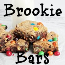Brookie bars are a brownie and a cookie baked into one delicious dessert! We sandwiched M&M's Crispy in between the two layers and added peanut butter to the brownies. The result was one out of this world dessert recipe.