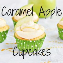 These caramel apple cupcakes are amazing! The center of the cupcake is a fluffy yellow cake with real apple pieces filled with caramel marshmallow fluff and frosted with caramel buttercream drizzled with caramel sauce.
