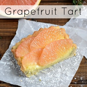 This grapefruit tart recipe is a little bit of sunshine. The bright, sweet and tart flavor of the Florida grapefruit goes perfectly with the flaky golden thyme shortbread crust.