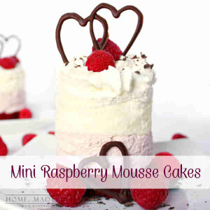 These Mini Raspberry Mousse Cakes are two layers of light, creamy raspberry and cream cheese mousse on a layer of red velvet cake. It's delicious any time but it would make a Valentine's Day dessert recipe.