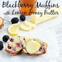 This blackberry muffin recipe is delicious with fresh blackberries dropped into a lemon poppyseed muffin mix. Our Lemon Honey butter recipe take it to the next level!