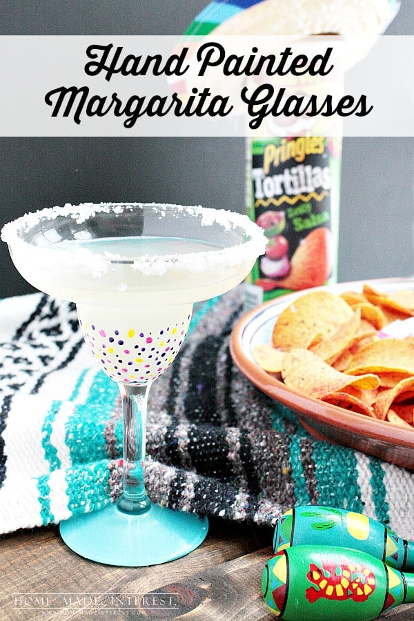 These hand-painted margarita glasses were an easy girls' craft night project and margaritas and Pringles® Tortillas made it even more fun!