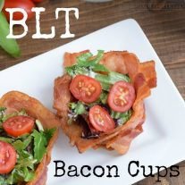 You can use a bacon weave to make this awesome recipe for a BLT. Bacon lettuce and tomato served in a bacon cup!