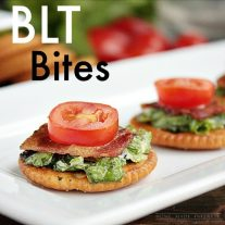 Bacon lettuce and tomato on a Ritz cracker. A simple, but delicious appetizer recipe.