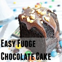 Super easy fudge chocolate cake I made for family game night. Moist & delicious topped with ganache with a fudge & M&M's center.